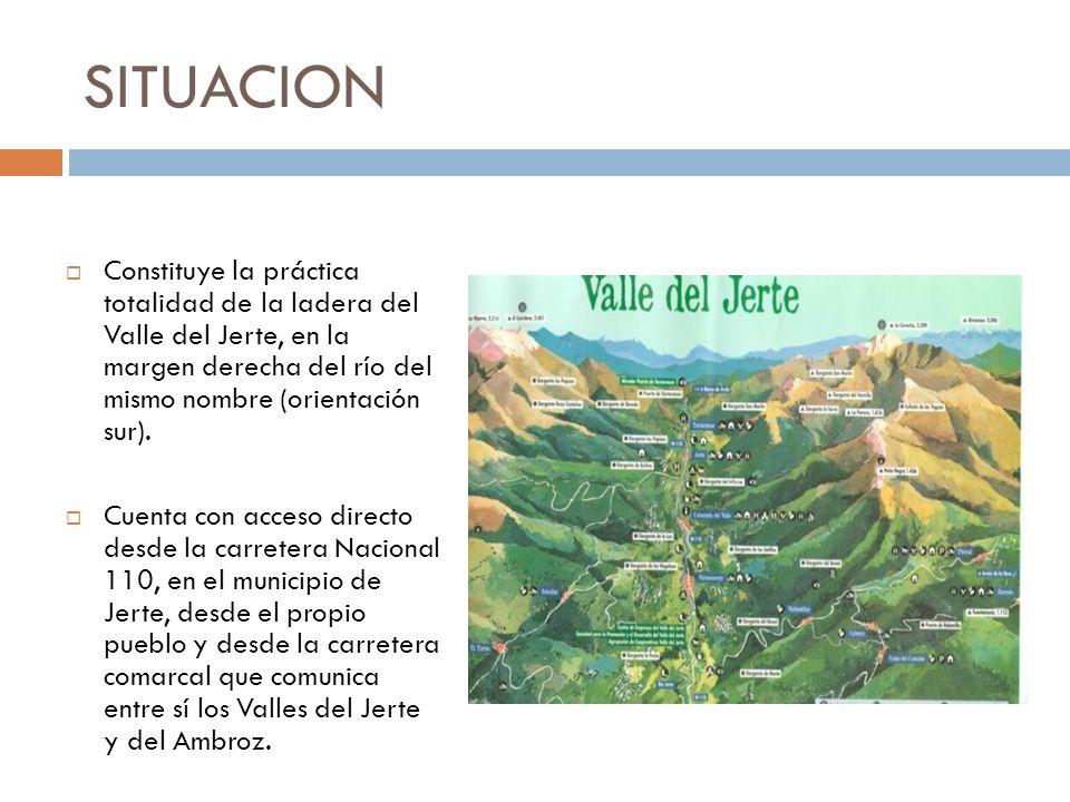 SITUACION Constituye la práctica totalidad de la ladera del Valle del Jerte, en la margen derecha del río del mismo nombre (orientación sur). Cuenta c