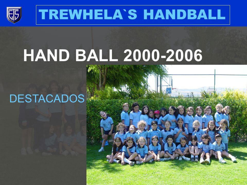 TREWHELA`S HANDBALL 2001 COMPETENCIA INTERNACIONAL MAR DEL PLATA CATEGORIA MINI (14), 3 ER LUGAR 2003 COMPETENCIA INTERNACIONAL BUENOS AIRES CATEGORIA INFANTIL (14) 2 DO LUGAR CATEGORIA MINI (13), 3 ER LUGAR 2006 CAMPEANATO NACIONAL VIÑA DEL MAR CATEGORIA MINI (16), 4 TO LUGAR 2000- 2004 PARTICIPACION EN ACEBAL 2005- 2006 PARTICIPACION EN ASOCIACION LAS CONDES Y COPA MUNINCIPALIDAD PROVIDENCIA 2001- 2006 TREWHELAS CUP 2005 CAMPEONATO NACIONAL COPA BICENTENARIO CATEGORIA INFANTIL (14) 3 ER LUGAR