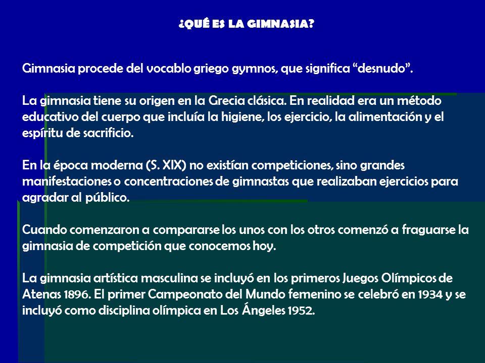 ¿QUÉ ES LA GIMNASIA? Gimnasia procede del vocablo griego gymnos, que significa desnudo. La gimnasia tiene su origen en la Grecia clásica. En realidad