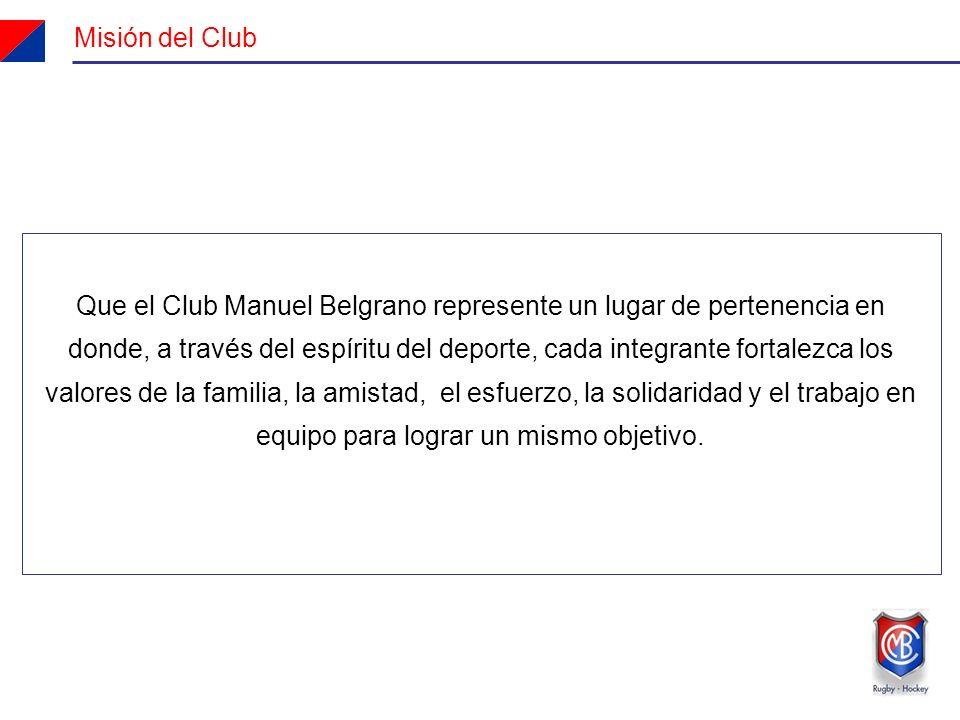 Misión del Club Que el Club Manuel Belgrano represente un lugar de pertenencia en donde, a través del espíritu del deporte, cada integrante fortalezca los valores de la familia, la amistad, el esfuerzo, la solidaridad y el trabajo en equipo para lograr un mismo objetivo.