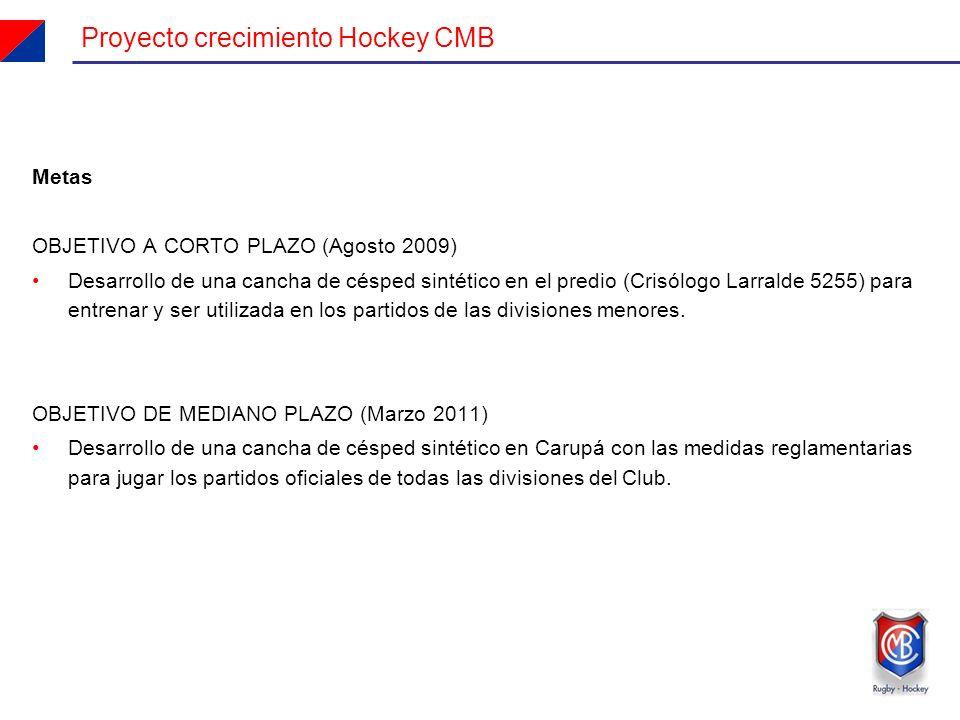 Metas OBJETIVO A CORTO PLAZO (Agosto 2009) Desarrollo de una cancha de césped sintético en el predio (Crisólogo Larralde 5255) para entrenar y ser utilizada en los partidos de las divisiones menores.