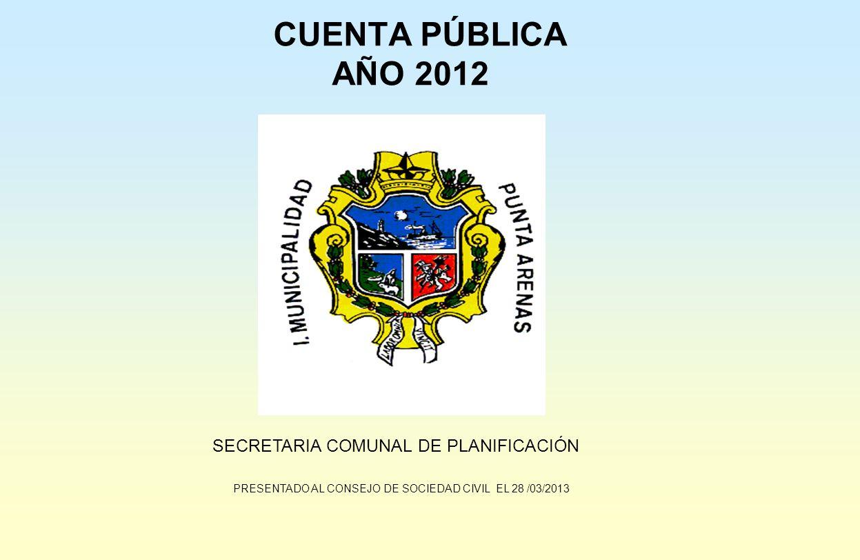 CUENTA PÚBLICA AÑO 2012 SECRETARIA COMUNAL DE PLANIFICACIÓN PRESENTADO AL CONSEJO DE SOCIEDAD CIVIL EL 28 /03/2013
