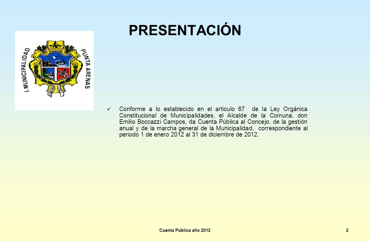 PRESENTACIÓN Conforme a lo establecido en el articulo 67 de la Ley Orgánica Constitucional de Municipalidades, el Alcalde de la Comuna, don Emilio Boc