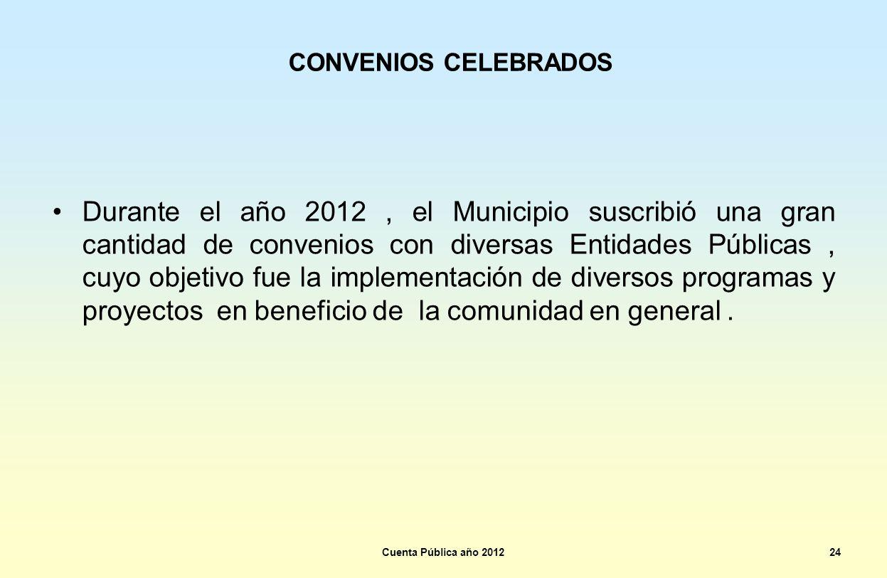CONVENIOS CELEBRADOS Durante el año 2012, el Municipio suscribió una gran cantidad de convenios con diversas Entidades Públicas, cuyo objetivo fue la