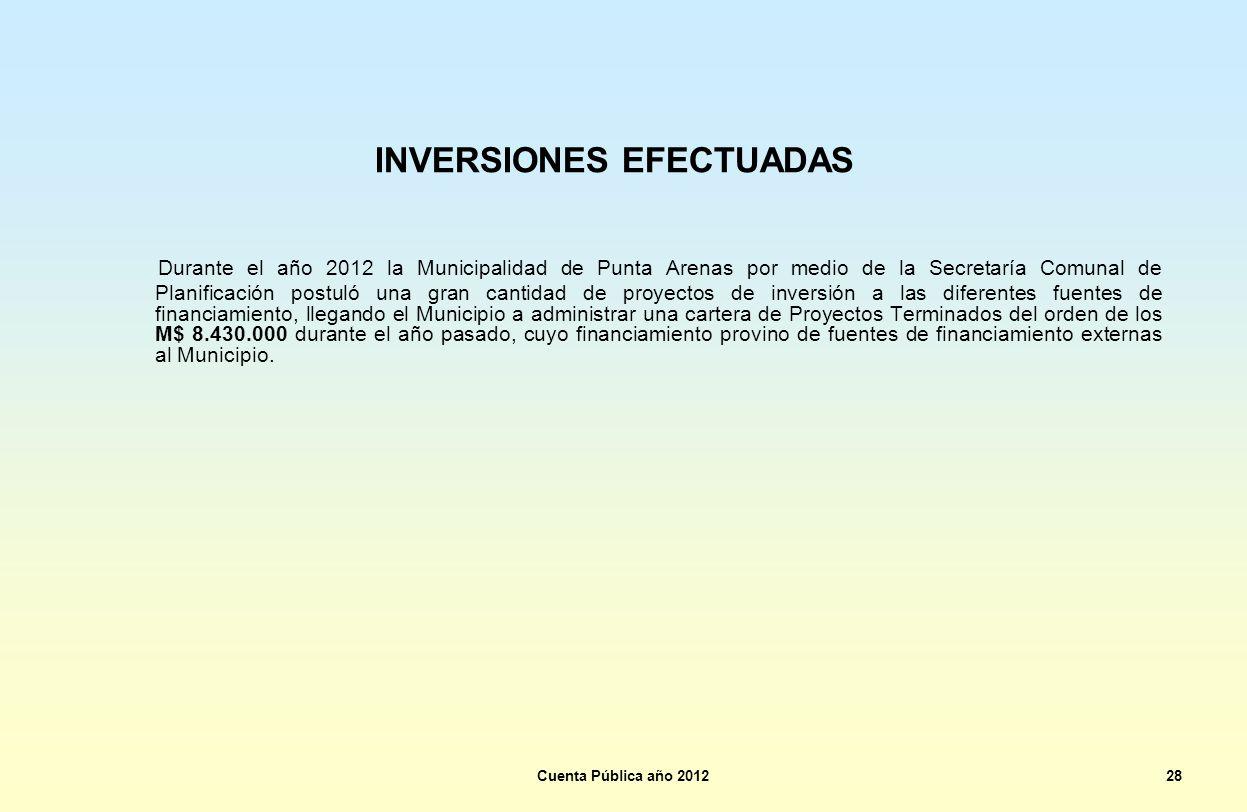 INVERSIONES EFECTUADAS Durante el año 2012 la Municipalidad de Punta Arenas por medio de la Secretaría Comunal de Planificación postuló una gran canti