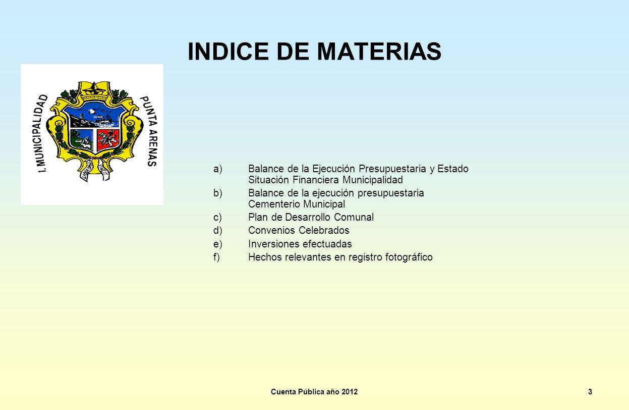 INDICE DE MATERIAS a)Balance de la Ejecución Presupuestaria y Estado Situación Financiera Municipalidad b)Balance de la ejecución presupuestaria Cemen