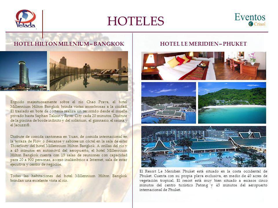 HOTEL HILTON MILENIUM – BANGKOK Erguido majestuosamente sobre el río Chao Praya, el hotel Millennium Hilton Bangkok brinda vistas asombrosas a la ciud