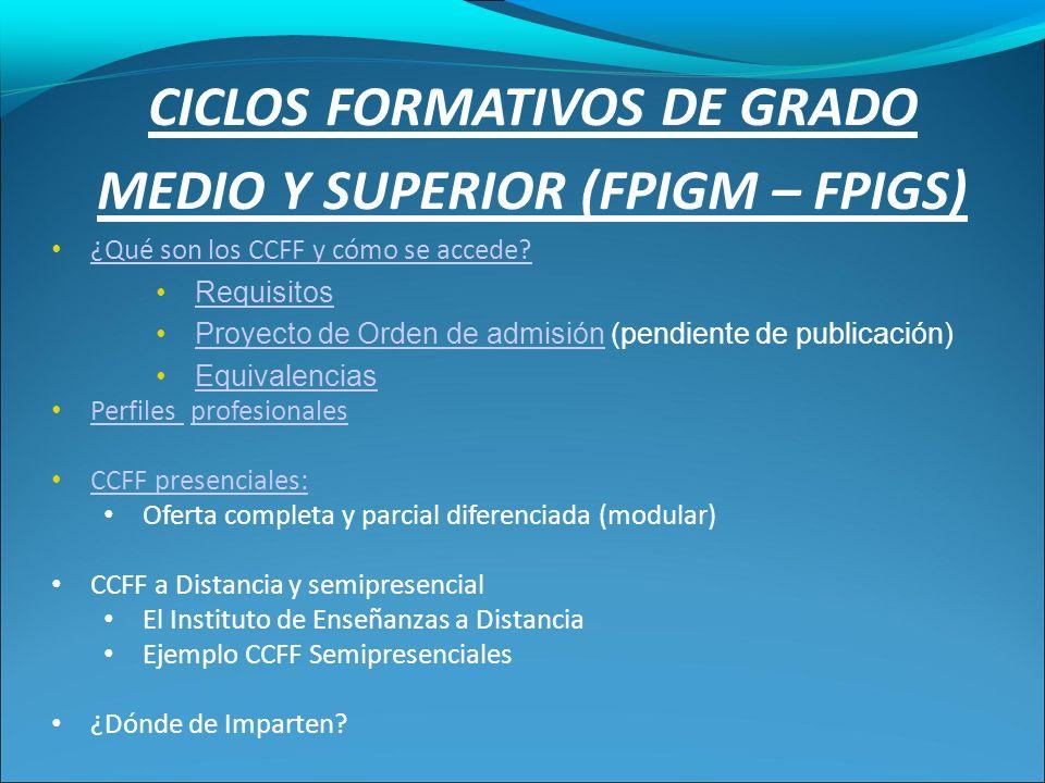 CICLOS FORMATIVOS DE GRADO MEDIO Y SUPERIOR (FPIGM – FPIGS) ¿Qué son los CCFF y cómo se accede.