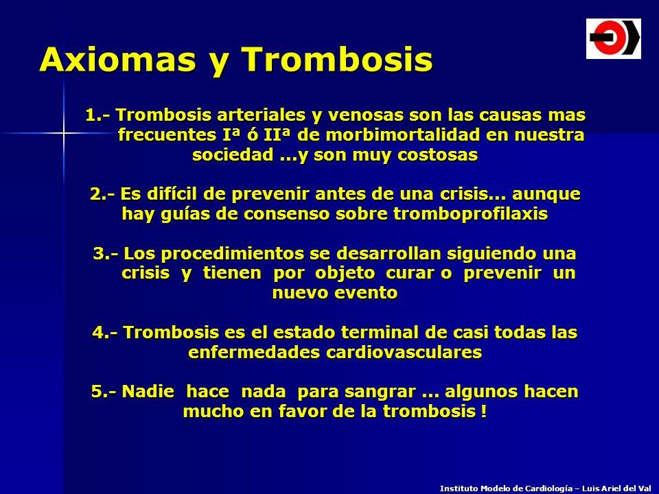 Axiomas y Trombosis 1.- Trombosis arteriales y venosas son las causas mas frecuentes Iª ó IIª de morbimortalidad en nuestra frecuentes Iª ó IIª de mor