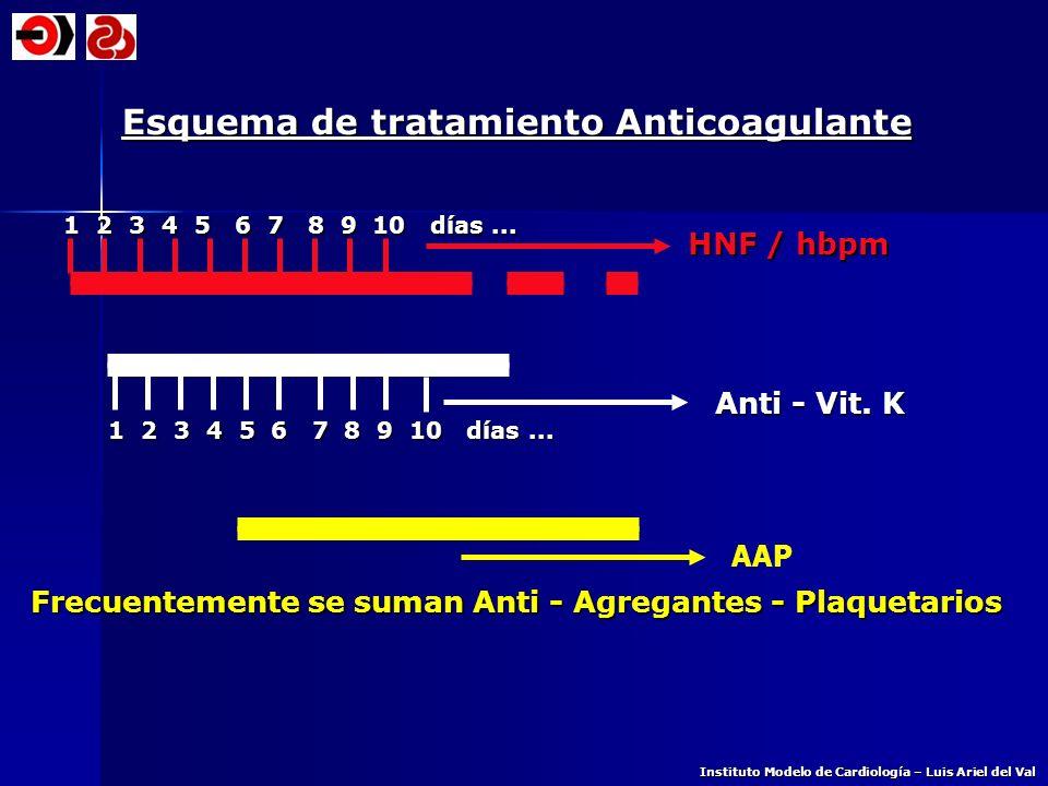Esquema de tratamiento Anticoagulante 1 2 3 4 5 6 7 8 9 10 días... 1 2 3 4 5 6 7 8 9 10 días... HNF / hbpm Instituto Modelo de Cardiología – Luis Arie