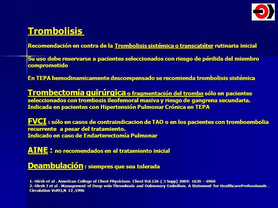 Trombolisis Recomendación en contra de la Trombolisis sistémica o transcatéter rutinaria inicial Su uso debe reservarse a pacientes seleccionados con