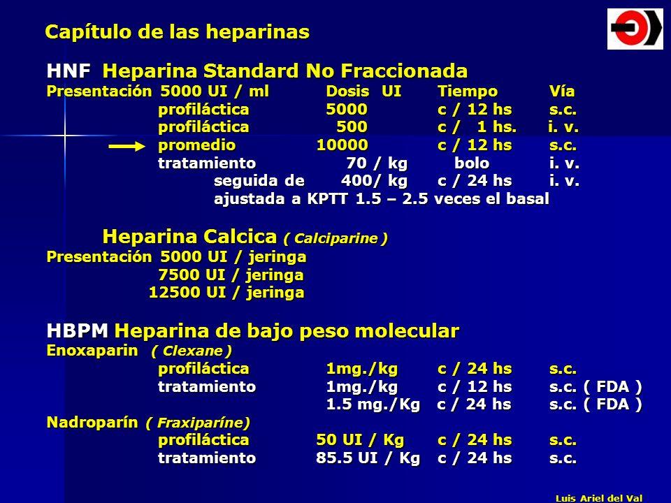 Capítulo de las heparinas HNFHeparina Standard No Fraccionada Presentación 5000 UI / ml DosisUITiempoVía profiláctica 5000 c / 12 hss.c. profiláctica