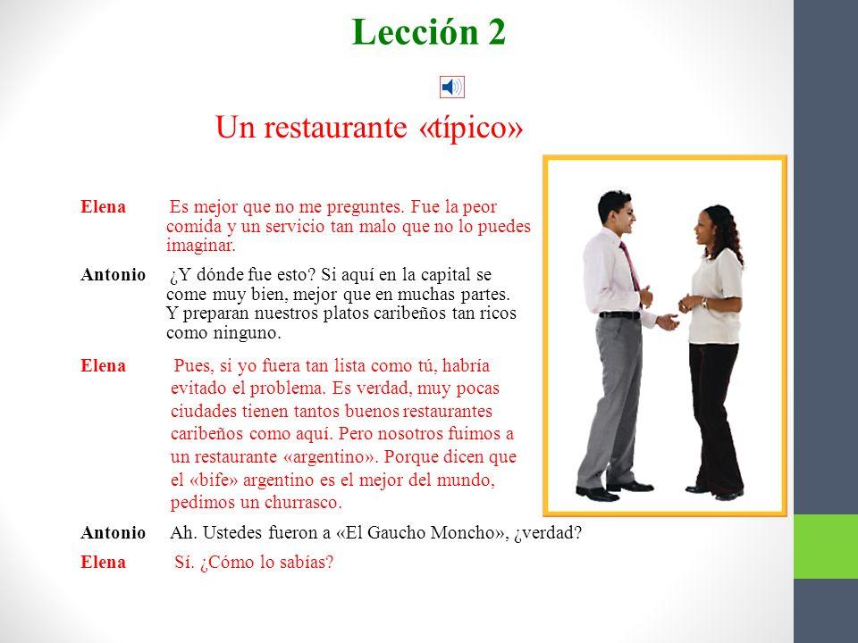Conversación Un restaurante «típico» Lección 2