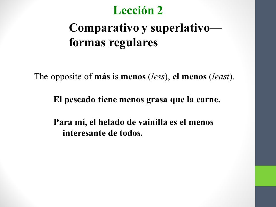 Comparativo y superlativo formas regulares 3.The superlative expresses that which is the most.