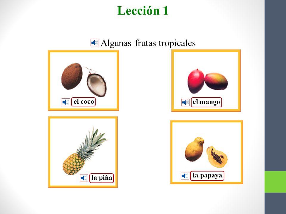 Lección 1 Algunas frutas tropicales Vocabulario para la lectura