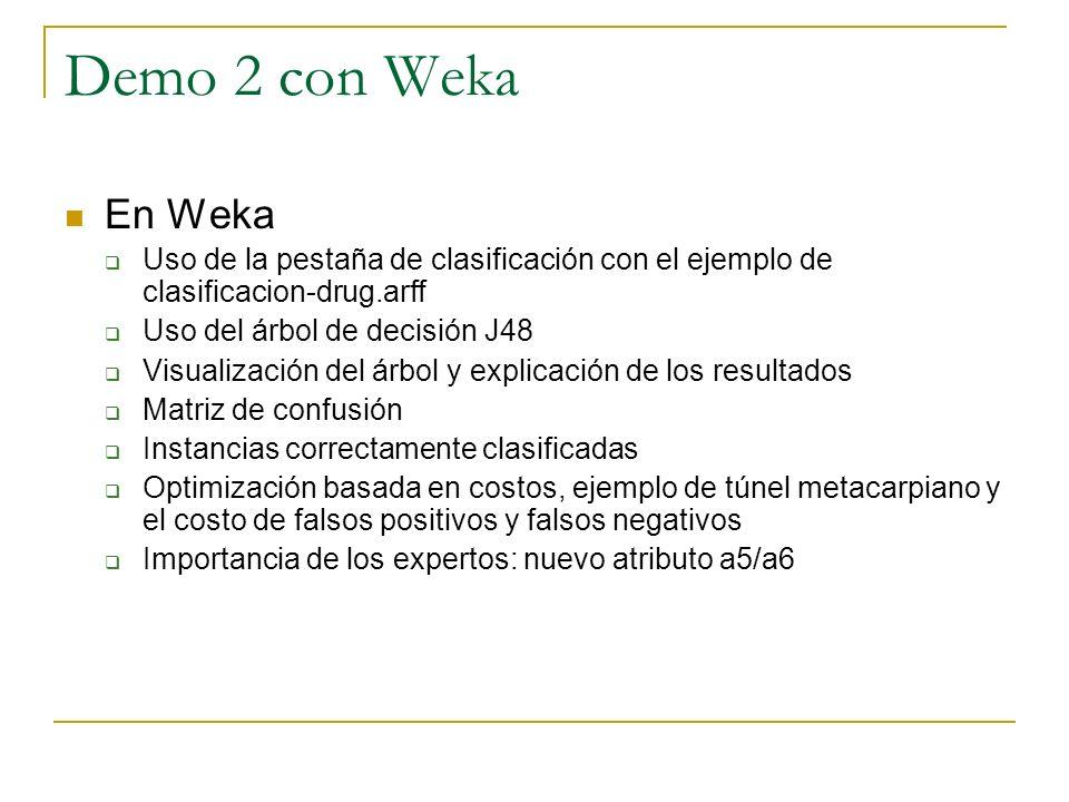 Demo 2 con Weka En Weka Uso de la pestaña de clasificación con el ejemplo de clasificacion-drug.arff Uso del árbol de decisión J48 Visualización del á