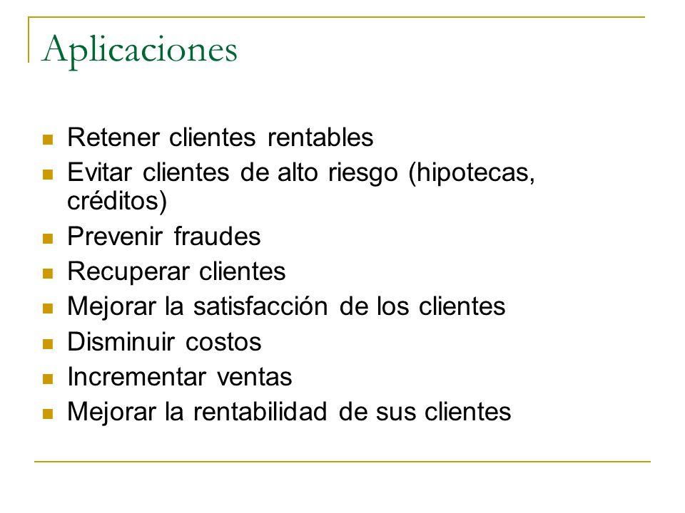 Aplicaciones Retener clientes rentables Evitar clientes de alto riesgo (hipotecas, créditos) Prevenir fraudes Recuperar clientes Mejorar la satisfacci