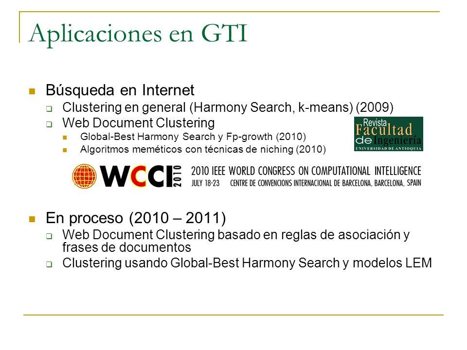 Aplicaciones en GTI Búsqueda en Internet Clustering en general (Harmony Search, k-means) (2009) Web Document Clustering Global-Best Harmony Search y F