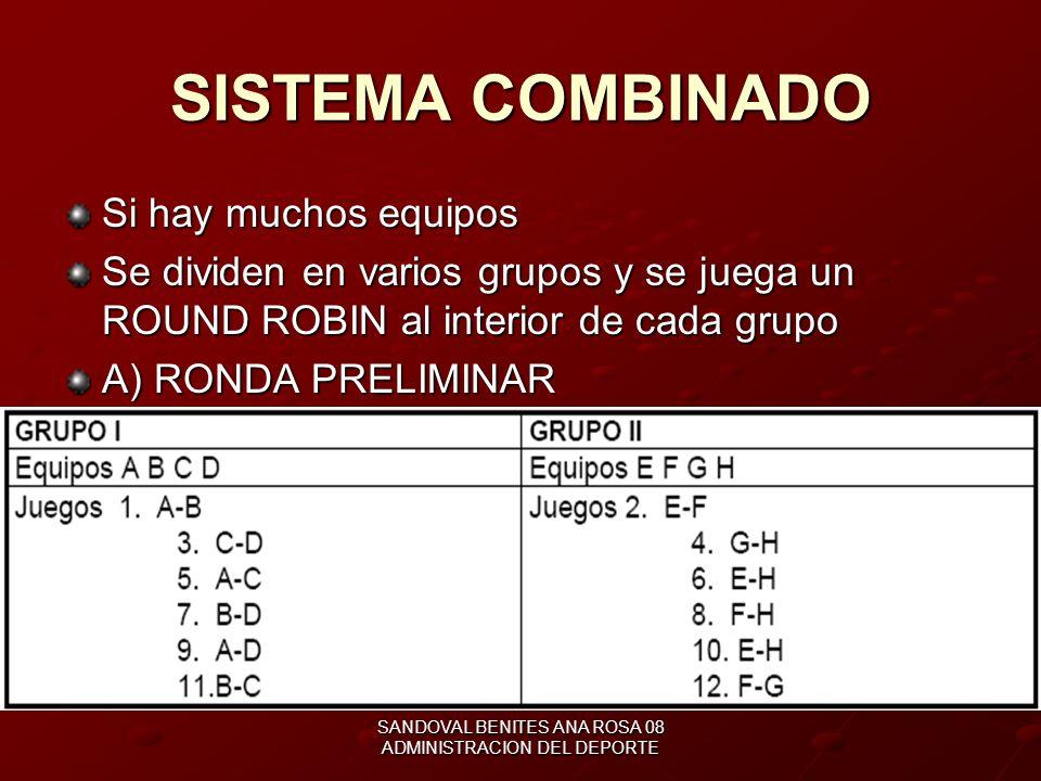 SANDOVAL BENITES ANA ROSA 08 ADMINISTRACION DEL DEPORTE EQUIPOS IMPARES SI NO SE TIENE 4, 8, O 16 EQUIPOS