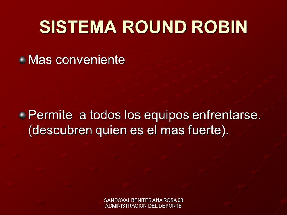 SANDOVAL BENITES ANA ROSA 08 ADMINISTRACION DEL DEPORTE SISTEMAS DE COMPETENCIA Todos contra todos (Round Robin) Eliminación sencilla (directa) Sistem