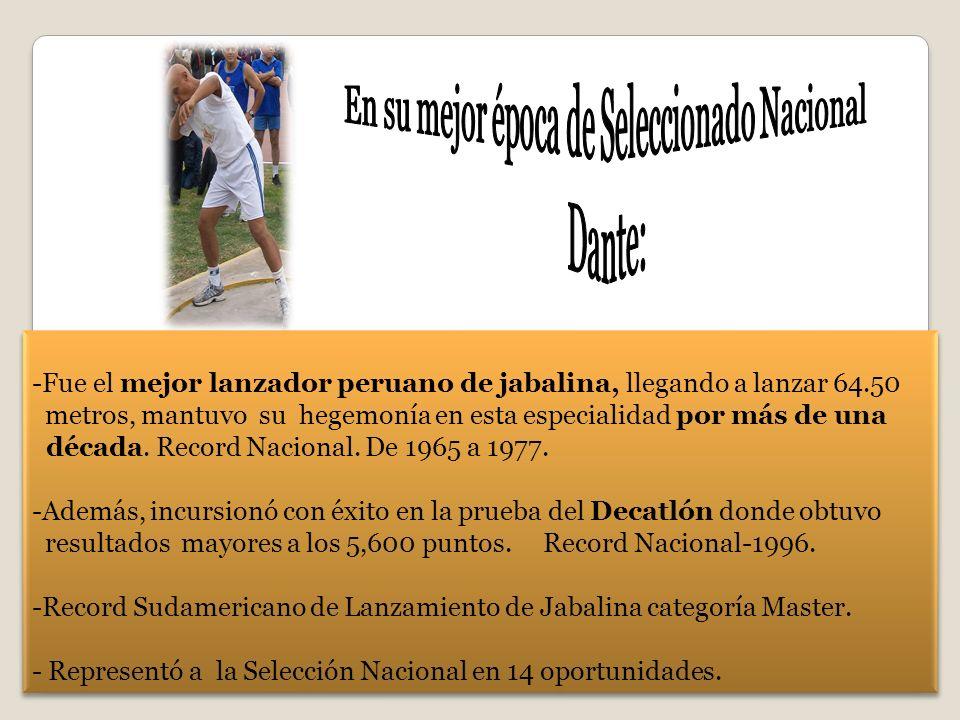 -Fue el mejor lanzador peruano de jabalina, llegando a lanzar 64.50 metros, mantuvo su hegemonía en esta especialidad por más de una década. Record Na