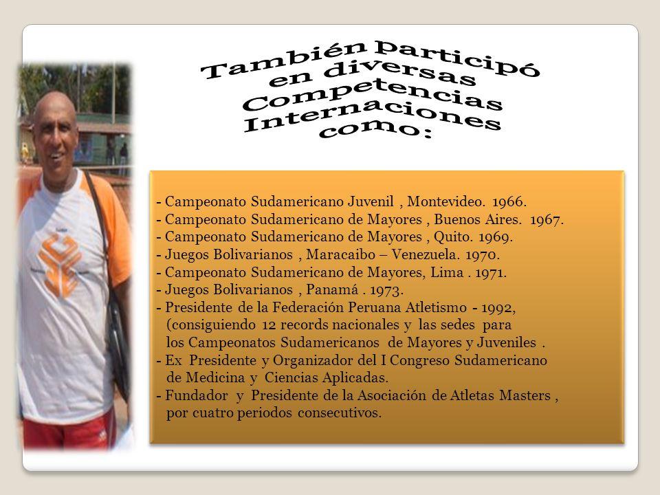 - Campeonato Sudamericano Juvenil, Montevideo. 1966. - Campeonato Sudamericano de Mayores, Buenos Aires. 1967. - Campeonato Sudamericano de Mayores, Q