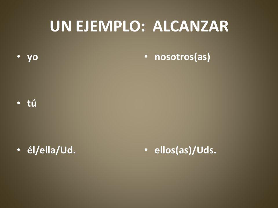 UN EJEMPLO: ALCANZAR yo tú él/ella/Ud. nosotros(as) ellos(as)/Uds.