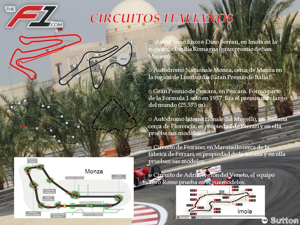 o Autódromo Enzo e Dino Ferrari, en Imola en la región de Emilia Romagna (gran premio de San Marino).