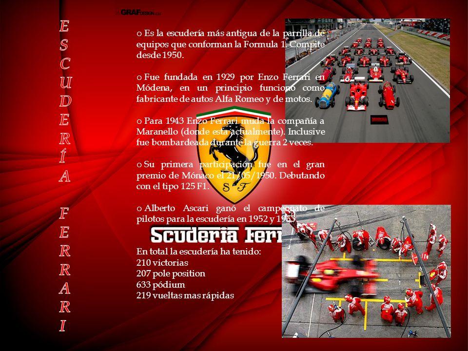 o Es la escudería más antigua de la parrilla de equipos que conforman la Formula 1.