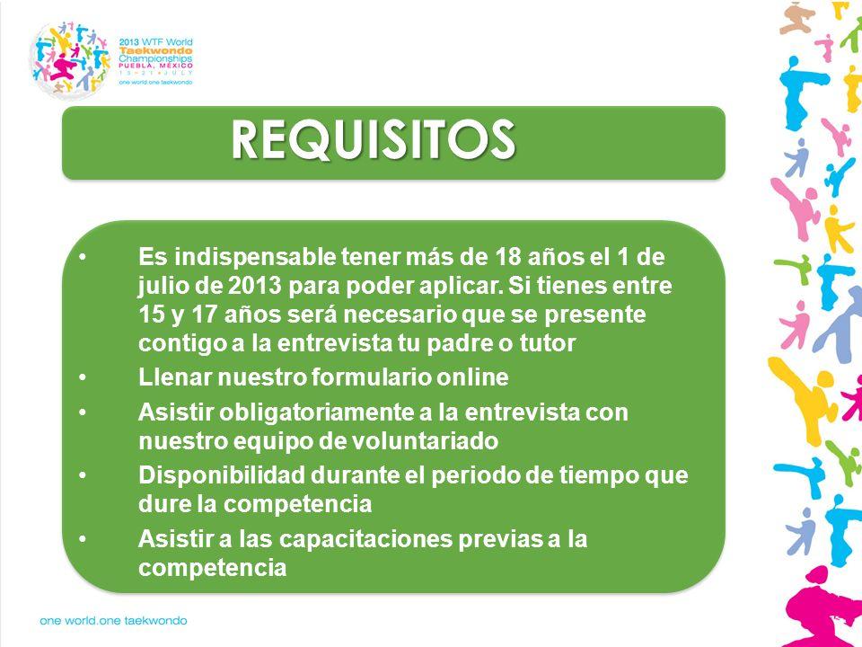 REQUISITOS Es indispensable tener más de 18 años el 1 de julio de 2013 para poder aplicar. Si tienes entre 15 y 17 años será necesario que se presente