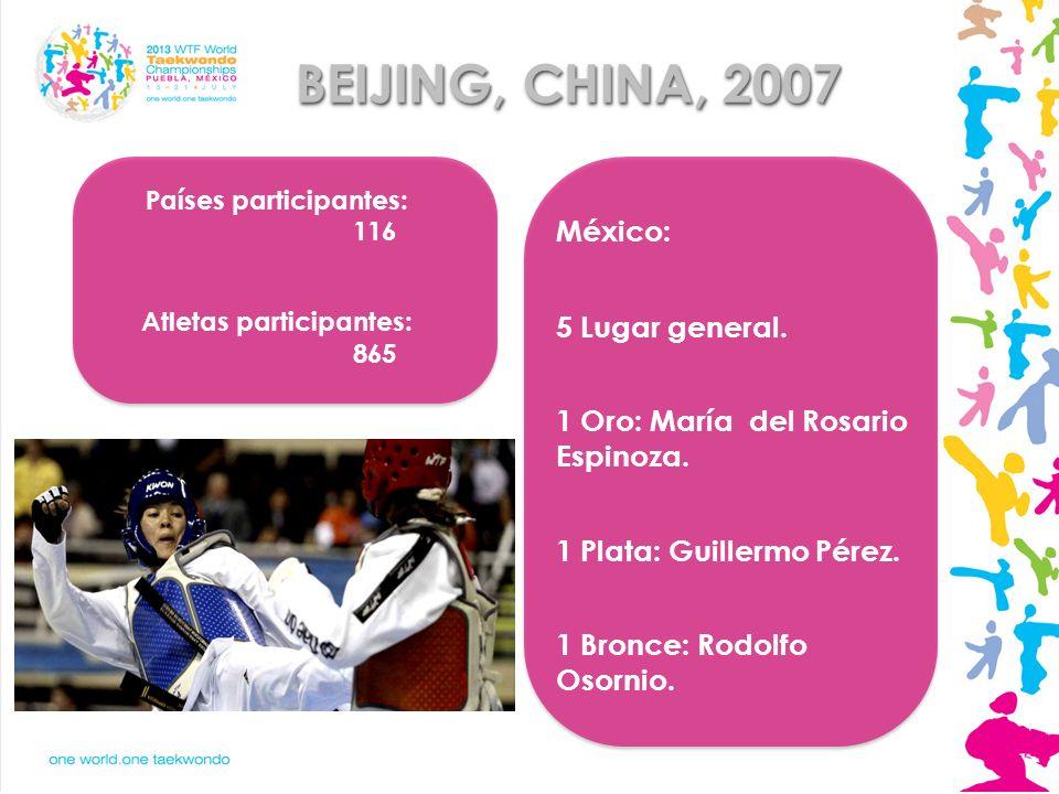 BEIJING, CHINA, 2007 Países participantes: 116 Atletas participantes: 865 México: 5 Lugar general. 1 Oro: María del Rosario Espinoza. 1 Plata: Guiller