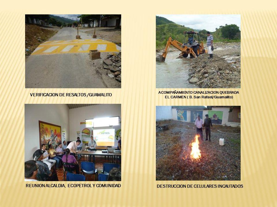VERIFICACION DE RESALTOS /GUAMALITO ACOMPAÑAMIENTO CANALIZACION QUEBRADA EL CARMEN ( B.