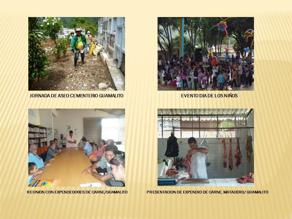EVENTO DIA DE LOS NIÑOSJORNADA DE ASEO CEMENTERIO GUAMALITO REUNION CON EXPENDEDORES DE CARNE/GUAMALITOPRESENTACION DE EXPENDIO DE CARNE, MATADERO/ GUAMALITO