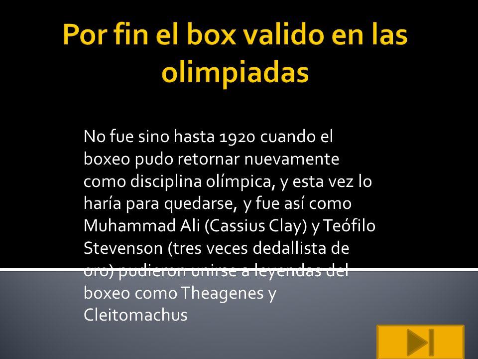 No fue sino hasta 1920 cuando el boxeo pudo retornar nuevamente como disciplina olímpica, y esta vez lo haría para quedarse, y fue así como Muhammad A