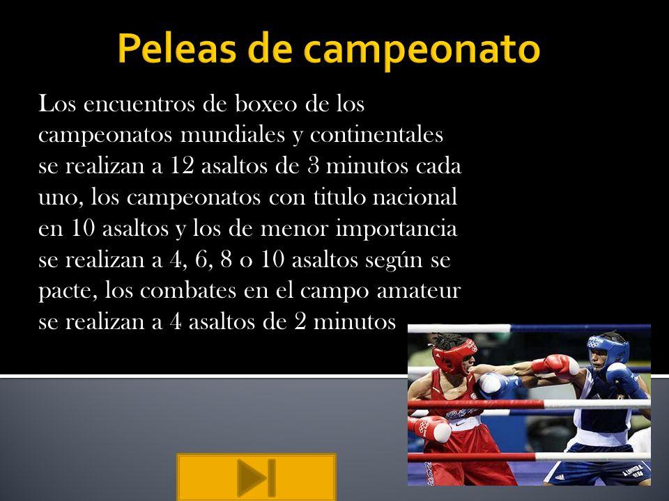 Los encuentros de boxeo de los campeonatos mundiales y continentales se realizan a 12 asaltos de 3 minutos cada uno, los campeonatos con titulo nacion