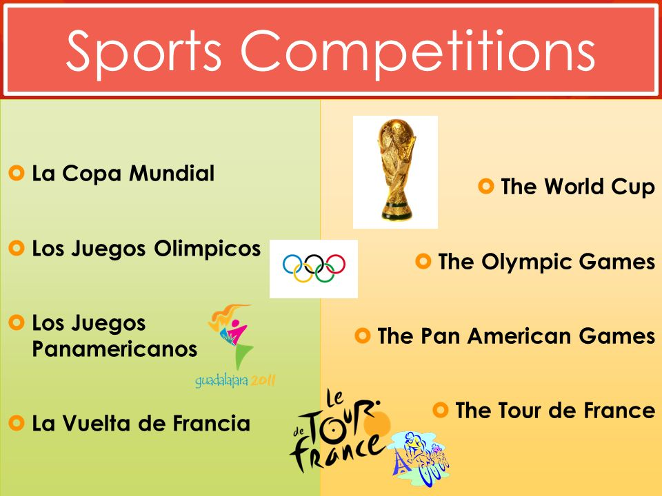 Sports Competitions La Copa Mundial Los Juegos Olimpicos Los Juegos Panamericanos La Vuelta de Francia The World Cup The Olympic Games The Pan American Games The Tour de France
