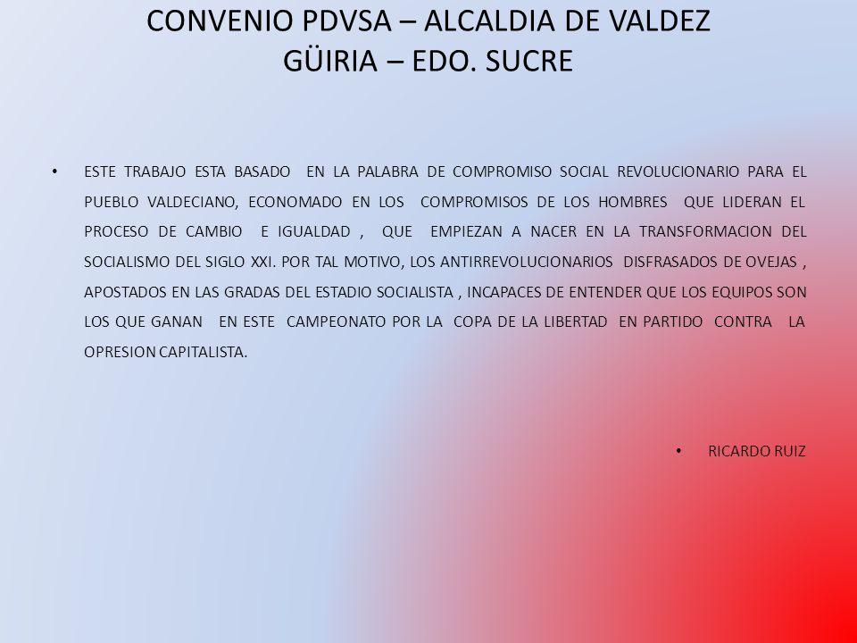 ESTE TRABAJO ESTA BASADO EN LA PALABRA DE COMPROMISO SOCIAL REVOLUCIONARIO PARA EL PUEBLO VALDECIANO, ECONOMADO EN LOS COMPROMISOS DE LOS HOMBRES QUE LIDERAN EL PROCESO DE CAMBIO E IGUALDAD, QUE EMPIEZAN A NACER EN LA TRANSFORMACION DEL SOCIALISMO DEL SIGLO XXI.