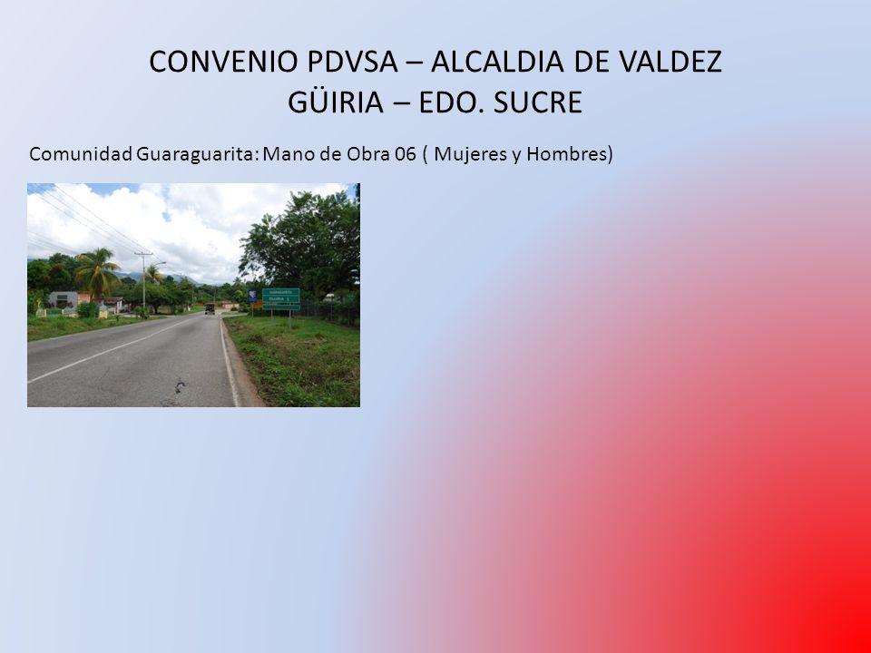 CONVENIO PDVSA – ALCALDIA DE VALDEZ GÜIRIA – EDO.