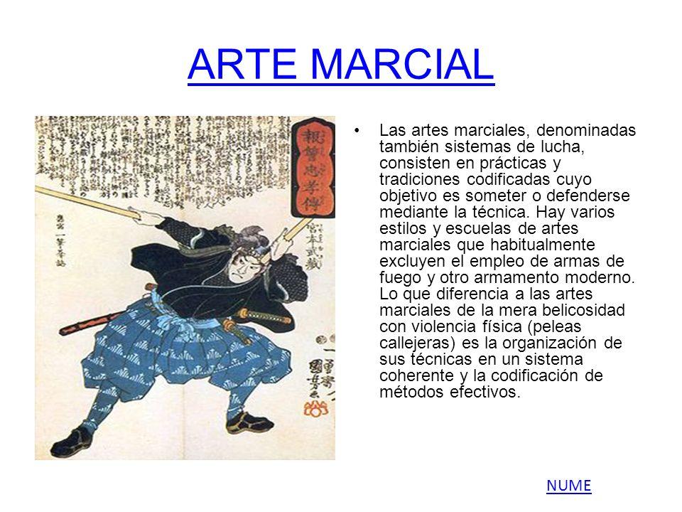 ARTE MARCIAL Las artes marciales, denominadas también sistemas de lucha, consisten en prácticas y tradiciones codificadas cuyo objetivo es someter o d