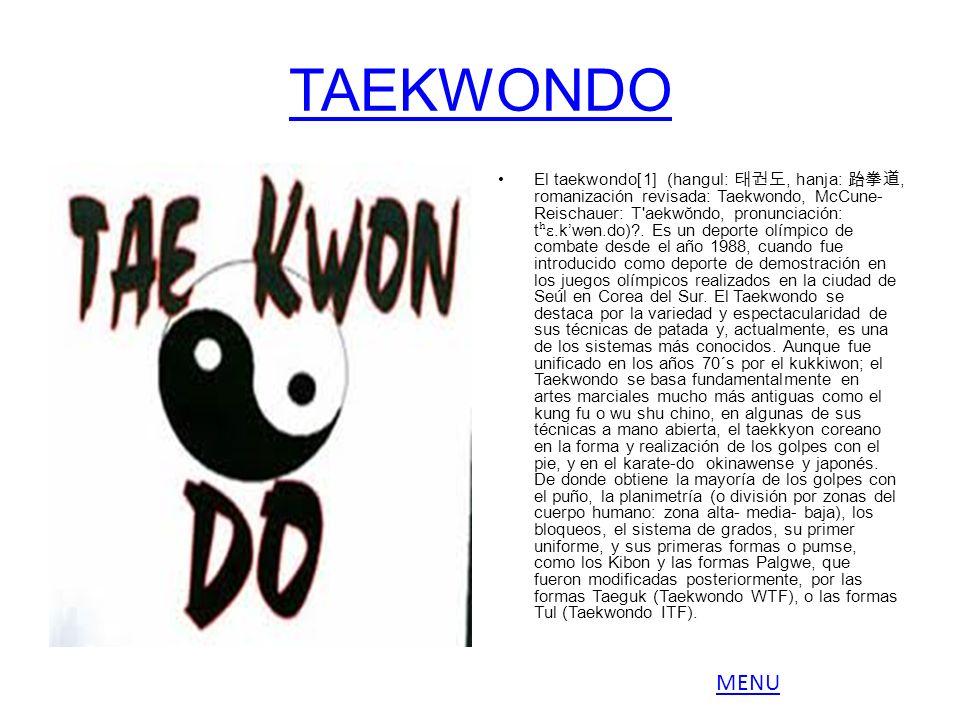 TAEKWONDO El taekwondo[1] (hangul:, hanja:, romanización revisada: Taekwondo, McCune- Reischauer: T'aekwŏndo, pronunciación: t ʰɛ.kwən.do)?. Es un dep
