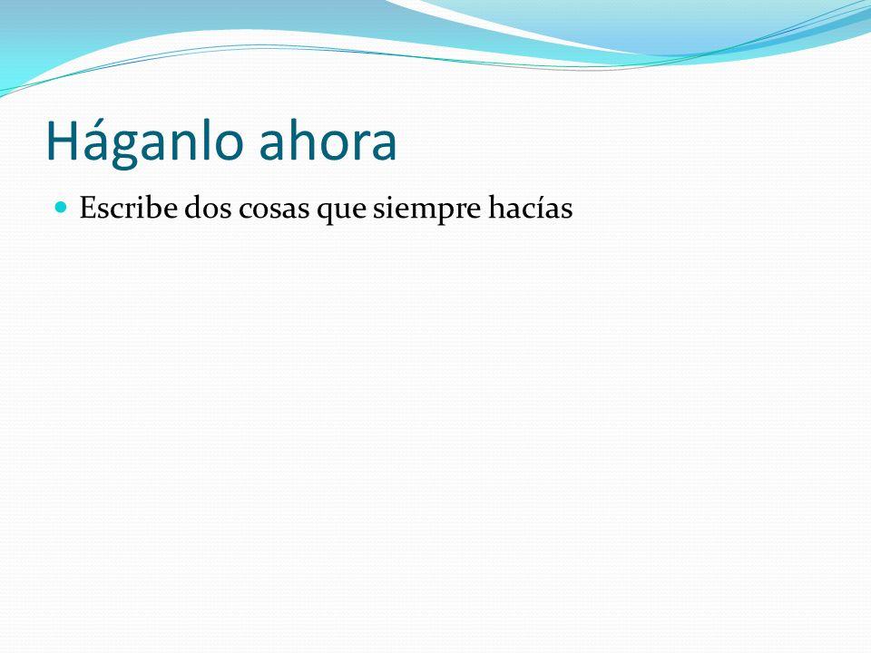 Háganlo ahora Fill in the missing accents: 1. Hacia 2. Hablabamos 3. Eramos 4. Ibamos 5. Veian