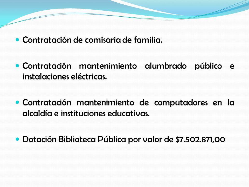 Contratación de comisaria de familia. Contratación mantenimiento alumbrado público e instalaciones eléctricas. Contratación mantenimiento de computado