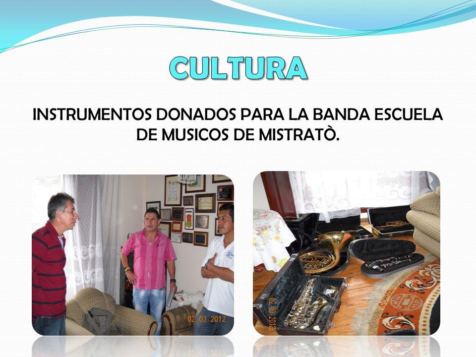 INSTRUMENTOS DONADOS PARA LA BANDA ESCUELA DE MUSICOS DE MISTRATÒ.