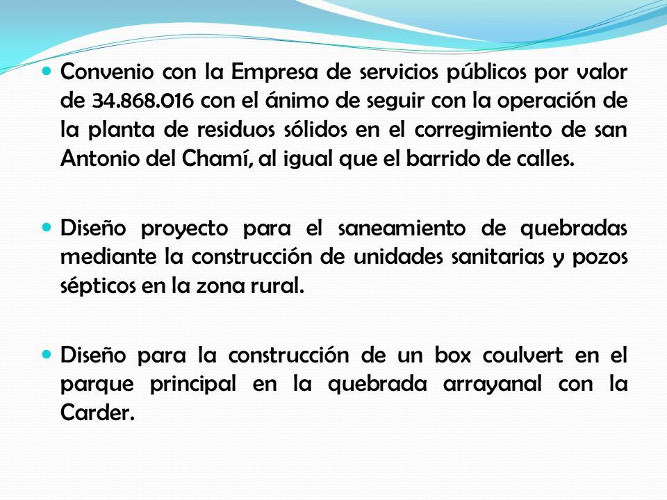 Convenio con la Empresa de servicios públicos por valor de 34.868.016 con el ánimo de seguir con la operación de la planta de residuos sólidos en el corregimiento de san Antonio del Chamí, al igual que el barrido de calles.