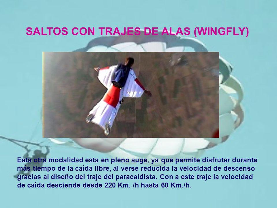 SALTOS CON TRAJES DE ALAS (WINGFLY) Esta otra modalidad esta en pleno auge, ya que permite disfrutar durante más tiempo de la caída libre, al verse re