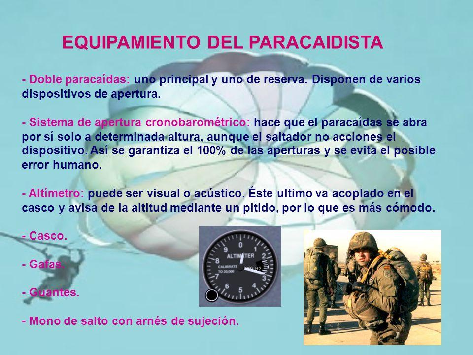 - Doble paracaídas: uno principal y uno de reserva. Disponen de varios dispositivos de apertura. - Sistema de apertura cronobarométrico: hace que el p