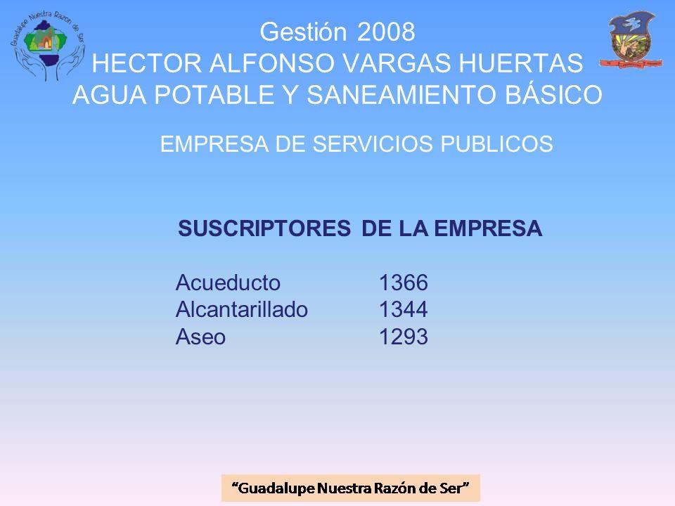 Gestión 2008 HECTOR ALFONSO VARGAS HUERTAS AGUA POTABLE Y SANEAMIENTO BÁSICO EMPRESA DE SERVICIOS PUBLICOS SUSCRIPTORES DE LA EMPRESA Acueducto1366 Al