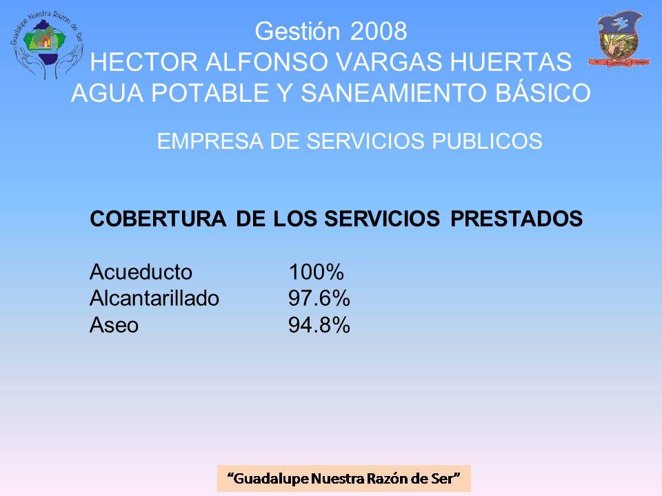 Gestión 2008 HECTOR ALFONSO VARGAS HUERTAS AGUA POTABLE Y SANEAMIENTO BÁSICO EMPRESA DE SERVICIOS PUBLICOS COBERTURA DE LOS SERVICIOS PRESTADOS Acuedu