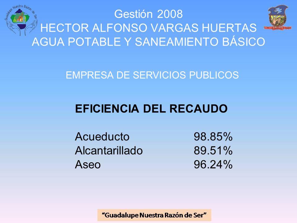 Gestión 2008 HECTOR ALFONSO VARGAS HUERTAS AGUA POTABLE Y SANEAMIENTO BÁSICO EMPRESA DE SERVICIOS PUBLICOS EFICIENCIA DEL RECAUDO Acueducto 98.85% Alc