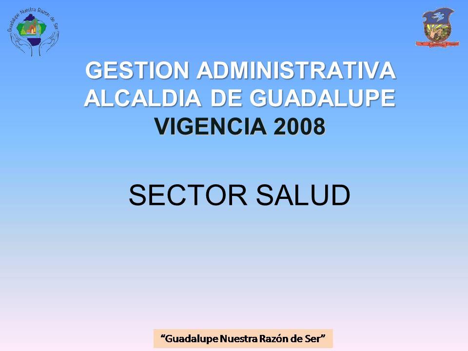 GESTION ADMINISTRATIVA ALCALDIA DE GUADALUPE VIGENCIA 2008 GESTION ADMINISTRATIVA ALCALDIA DE GUADALUPE VIGENCIA 2008 SECTOR SALUD